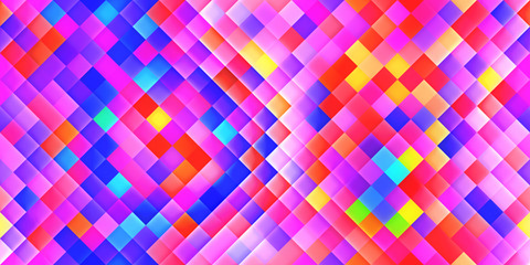 Happy Seamless Bright Square Background. Colorful Mosaic Grid Lights Texture. Beautiful Modern...