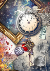 Photo sur Aluminium Imagination Anywhere out of the world. Fairytale and enchanted landscape with key and clock.
