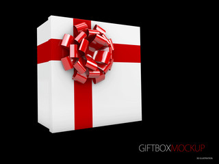 3d Illustration of White Square Gift Box with Red Ribbon Isolated on black Background