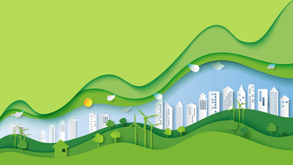 Spoed Fotobehang Lime groen Ecology and environment conservation creative idea concept design.Green eco urban city and nature landscape background paper art style.Vector illustration.