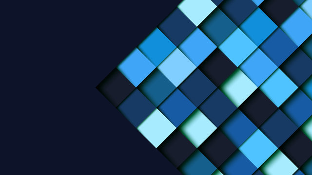Abstract blue square geometric shape paper cut layer background.Paper art style of cover design for business banner template and material design.Vector illustration.