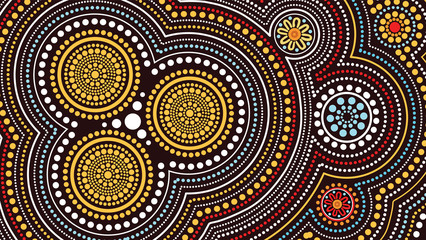 Aboriginal art vector painting, Connection concept, Illustration based on aboriginal style of dot background - Vector illustration