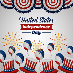 american independence day fest of united states revolution ballons fireworks vector illustration