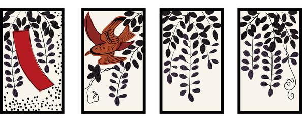 花札のイラスト|4月藤 藤に不如帰|日本のカードゲーム |ベクターデータ |手描き・フリーハンド