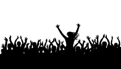 Applause crowd silhouette, cheerful people. Concert, party. Funny cheering, isolated vector. Girl on the shoulders of a man, silhouette background
