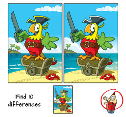Pirate parrot with a cutlass staying on a treasure chest. Find 10 differences. Educational game for children. Cartoon vector illustration