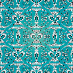 Abstract embroidery seamless pattern. Vector light blue patterned tapestry background. Embroidered design for fabric, textile, wallpapers, prints. Textured grunge ornaments.