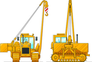 Drawing of a construction crane. Illustration of special equipment. Set of icons. Amazing illustration for website, print and project. Illustrations isolated on white background. The flat vector. Set.