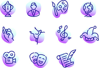 A collection of icons on the theme of culture. Flat vector, outlined icons isolated on white background. Icons for the site and mobile applications.