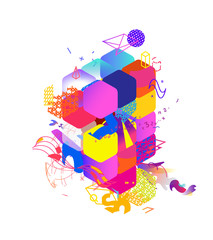 The style of abstract art, Suprematism, modern street art and graffiti. The design element is isolated on a white background, suitable for printing and web design. Geometric elements.