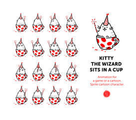 Sprite cartoon character of the cat. Set of different poses of the character in the vector. A looped animation of the rotation of the seal in the cup. Animation for a game or a cartoon.