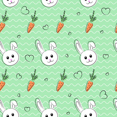 Cute seamless pattern, background  with bunny and carrots for easter and other holidays. Vector illustration.