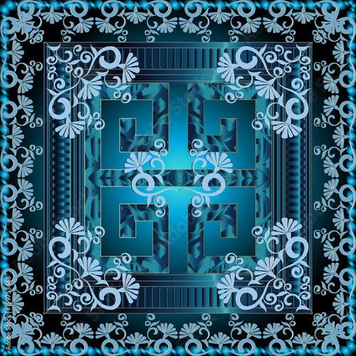 Greek 3d square panel pattern  Floral blue shiny vector background