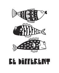 Cute fish, poster for baby room, greeting card, print on the wall, pillow, decoration kids interior, baby wear and t-shirts
