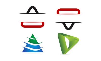 Shield Triangle Emblem Logo Blank Template Set
