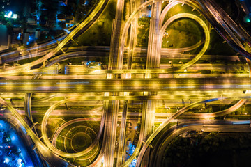 Night transport intersection aerial view city road