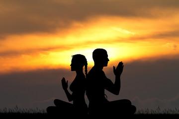asana yoga pose for couple
