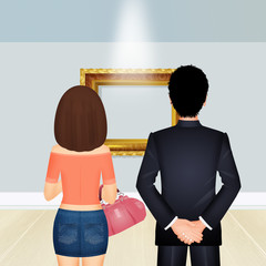 illustration of couple in art gallery
