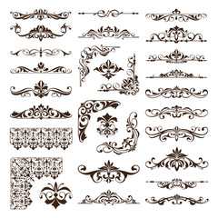 Vintage floral ornaments design elements of corners frame border stickers. vector set of damask patterns on white background