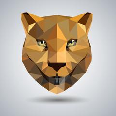 Abstract polygonal tirangle animal cheetah. Hipster animal illustration.