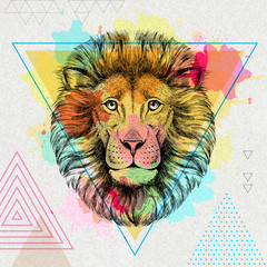 Hipster animal lion on artistic polygon watercolor background