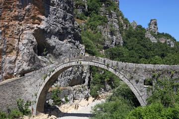 Kokkori arch stone bridge landscape Zagoria Greece
