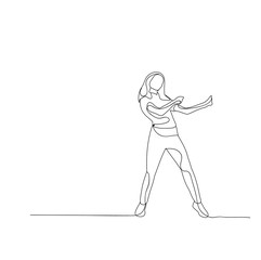 isolated sketch of a girl dancing