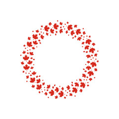 Vector red maple leaves wreath for  Canada day design.