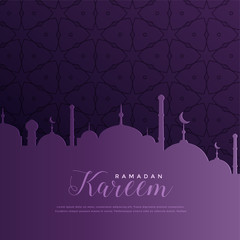 ramadan kareem greeting in purple color theme