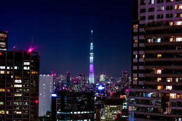 日本、東京、東京スカイツリー、夜景、絶景、トワイライト、大都会の夜風景