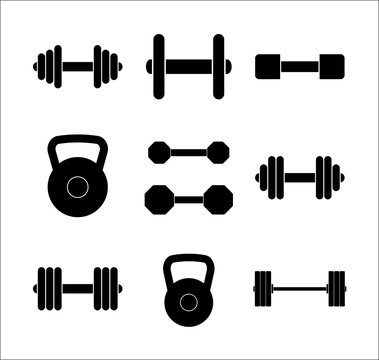 Different gym weights icon set isolated vectors on white background