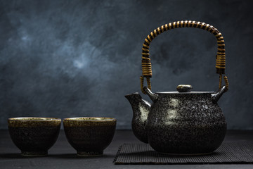 Tea pot and bowls for Japan tea ceremony