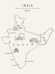 Map of India. Vintage hand drawn postcard