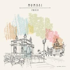 Gateway of India and Taj Mahal Palace Hotel in Mumbai (Bombay), India. Travel vintage hand drawn postcard