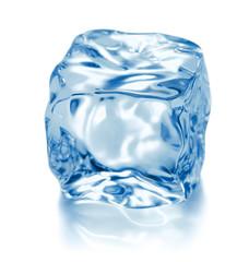 single ice cube isolated on white background