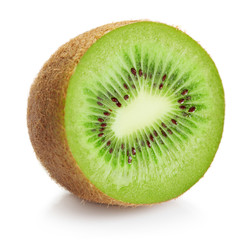Wall Mural - half of ripe kiwi isolated on white background