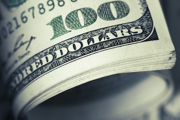 close-up view of stack of 100 US dollars notes