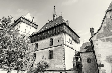 Karlstejn is a large gothic castle, colorless