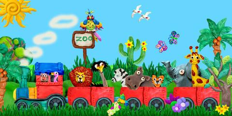 Traveling  Zoo animals 3D rendering children banner illustration