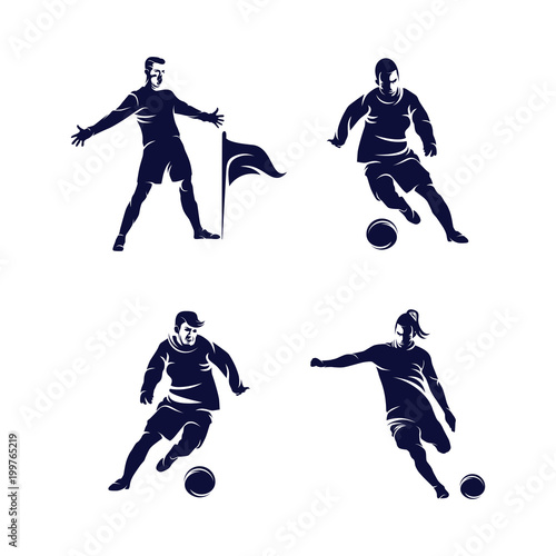 bfb7771fb Soccer Player Silhouette logo template, Celebration player, Dribbling and  shooting logo template