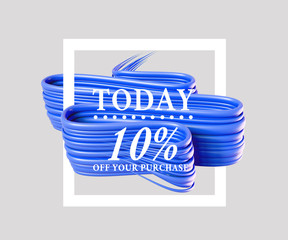 Sale today 10 off sign over art brush. Perfect design for a shop and sale banners. 3d illustration