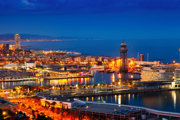 Foto op Canvas Barcelona Barcelona and Mediterranean in night