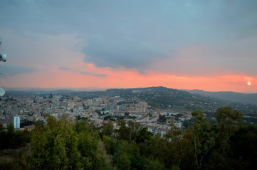 Panorama of Caltanissetta from the Redeemer During a Cloudy Sunset, Sicily, Italy