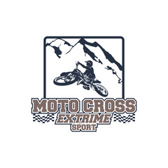 Motocross Extreme Sport Logo Badge with Mountain symbol vector