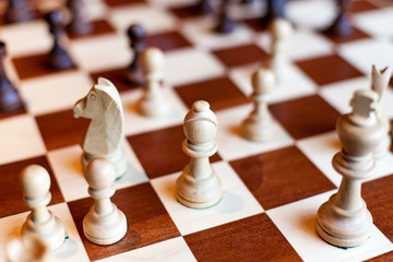 CHESS BOARD AND PIECES KING PAWN OFFICER