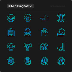 MRI diagnostics thin line icons set. Modern vector illustration of laboratory equipment for black theme.