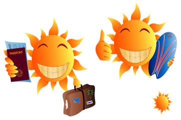 cartoon sun with passport, suitcase and surfboard, vector illustration