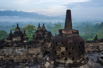 The Borobudur temple at sunrise
