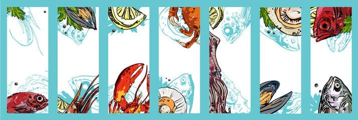 Set of seafood backgrounds.