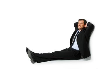 handsome businessman in suit resting